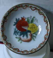 Very Old GOLD RIM FRUIT MOTIF PORCELAIN SAUCE PLATE 7cm