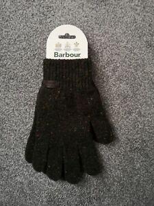 BNWT Mens Barbour Donegal 100% Wool Dark Green Gloves - Medium