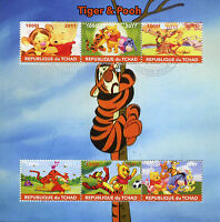Chad 2017 CTO Tigger & Winnie the Pooh 6v M/S Eeyore Disney Cartoons Stamps