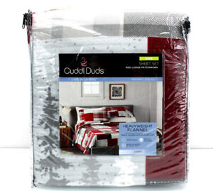 Cuddl Duds Heavy Weight 100% Cotton FLANNEL Sheet Set - Lodge Red Plaid 🌟NEW🌟