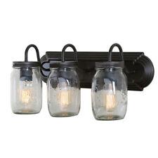 LNC Glass Jar Wall Sconces 3-Light Wall Lamp Sconces wall Lighting Use E26 Bulb