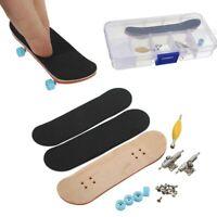 Complete Wooden Fingerboard Finger Skateboard Grit Box Foam Tape Maple Wood  ~
