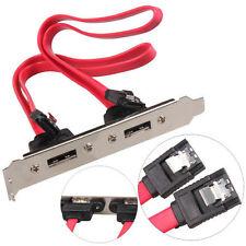 Computer Case Baffle 2 Port SATA to 2 ESATA External PCI Slot Cable Bracket New