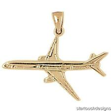 New 14k Yellow Gold Airplane Charm Pendant