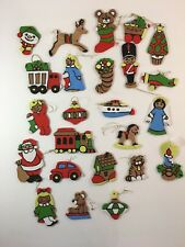 24 vintage Christmas ornaments hand painted thin wood 2-sided