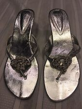 Ladies Formal Party Shoes Celeste Silver W/stones Embellished Size 9