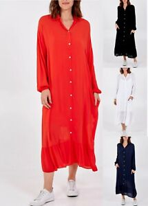 Ladies Italian Oversized Shirt Dress Womens Lagenlook Maxi Long Cami Tunic Top