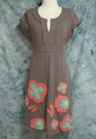 Boden Womens sz 6 6R Brown Pink Blue Floral Embroidered Cap Sleeve A Line Dress