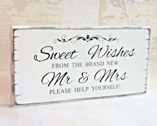 Wedding Sweet Table Sign Sweet Wishes Mr & Mrs Candy Bar Candy Cart Table Sign