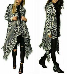 Ladies Women Long Sleeve Knitted Aztec Pattern Open Waterfall Tassel Cardigan UK