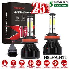 2x 4 Side H11 H9 H8 COB LED Headlight Bulb For 2007-2018 Nissan Micra Titan Juke