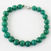 BEST QUALITY 148.80 CTS EARTH MINED GREEN EMERALD ROUND BEADS BRACELET (RS)