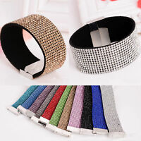 New 12 Rows Leather Wristband Cuff Crystal Rhinestone Bracelet Bangle Jewelry