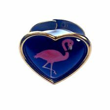 Flamingo Ring Jewellery Cameo Heart Tropical Pink Flamingo Kitsch Quirky Gift