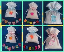 SACCHETTI porta confetti cotone + applicazione biberon - gufo - piede: Battesimo