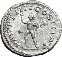 ELAGABALUS 220AD Rome Authentic Ancient Silver Roman Coin SOL SUN Whip  i65074