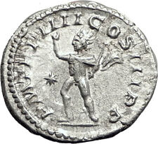 ELAGABALUS 220AD Rome Authentic Ancient Silver Roman Coin SOL SUN Whip  i65074