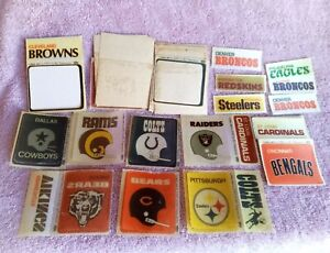 Vtg Lot Fleer NFL Cloth Patches Team Cards Mix 1972 1970s Cowboys Steelers