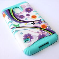 For Samsung Galaxy S5 - HARD & SOFT RUBBER HYBRID CASE PURPLE FLOWERS MINT BLUE