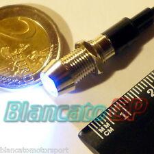 """SPIA LED BIANCO 12V DC METALLO """"CONICO"""" 8mm [auto moto camper nautica lampade]"""