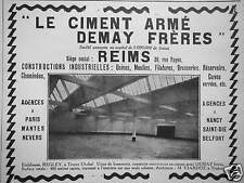 PUBLICITÉ LE CIMENT ARMÉ DEMAY FRÈRES REIMS CONSTRUCTIONS INDUSTRIELLES