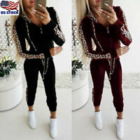 2PCS Womens Leopard Tracksuit Hoodies Coat Sweatshirt Pants Sets Sport Wear Suit