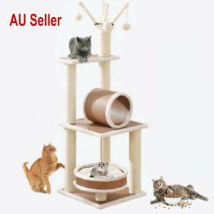120cm Pet Cat Tree Scratching Post Scratcher Climbing Tower Bed Furniture Wood