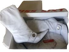 Miss Sixty (Vintage) Pantorrilla Botas de cuero blanco tamaño 5