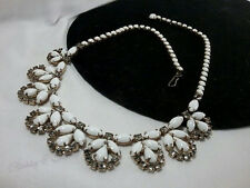Vintage Estate Gold White Milk Glass Rhinestone Lacey Collar High End Necklace