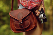New Women Vintage Brown Leather Messenger Cross Body Bag Handmade Tote Purse