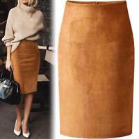 Suede Midi Pencil Skirt Women Elastic High Waist Skirts