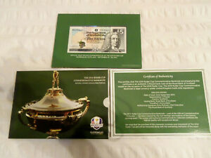ROYAL BANK OF SCOTLAND £5 NOTE  2014 RYDER CUP AT GLENEAGLES IN FOLDER - MINT