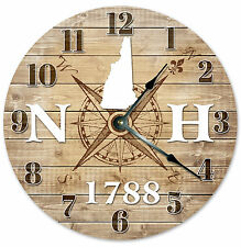 NEW HAMPSHIRE CLOCK Established in 1788 CLOCK Large 10.5 inch Wall Clock COMPASS