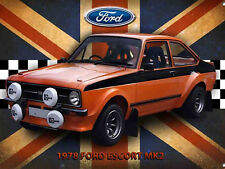 "Ford Escort MK2, Retro metal Sign/Plaque, Gift, Home, Garage 10"" x 8"" Large"