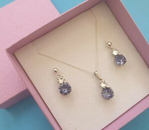 Sterling silver necklace & earring set in Swarovski Elements Tanzanite Lilac