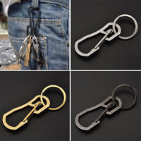 Portable Outdoor Stainless Steel Buckle Carabiner Keychain Key Ring Clip Hook ~