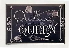 """QUILTING QUEEN Vintage Chalkboard Country Style 2"""" x 3"""" Fridge MAGNET Chalk"""