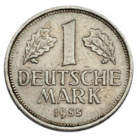 1955-G Germany 1 Mark Coin XF Condition KM #110