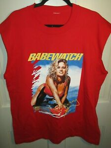 1996 WWF SUNNY Babewatch Graphic Men's Red Customized Muscle Shirt 2XL VTG 90s