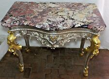 Stunning 17Th Centry Fleur-De-Lis Napoleonic Era Louis XV Gilt-Wood Marble Table