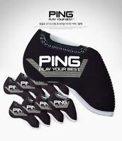PING 2019 New Premium Original Golf Iron Club Head Cover(9pcs) Black Neoprene