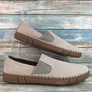 Robert Wayne Mens Road Beige Textured Fabric Slip On Casual Loafers Size 9D