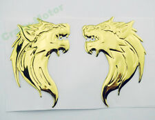 Gold 3D Wolf Fuel Gas Tank Fairing Badge Emblem Decal Sticker Motorcycle Custom