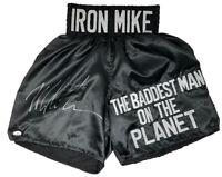 Mike Tyson Signed Custom Black The Baddest Man On The Planet Boxing Trunks JSA
