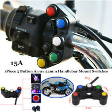 "7/8""220W Power 5Button Motorcycle Handlebar Turn Signal Lights Switch Waterproof"