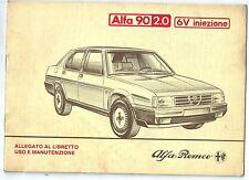 1984 ALFA ROMEO 90 2.0 6V iniezione CEM supplemento al manuale uso manutenzione