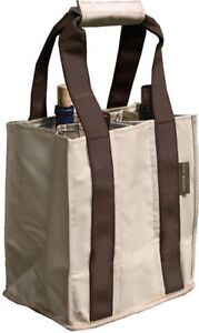 Fine Whines Canvas Party to Go Tote - Khaki with Brown Trim
