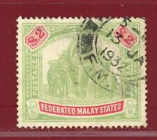 Malaya 1900 #14, $2 Elephant, Used, SCV $190.00