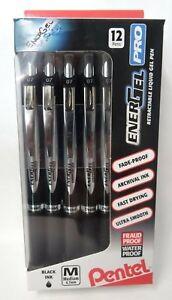 12 EnerGel PRO Gel Retractable Liquid Pens 0.7mm Black FADEPROOF WATERPROOF INK