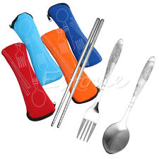 3Pcs Chopstick Fork Spoon Stainless Steel Zipped Bag Cutlery Set Travel Picnic